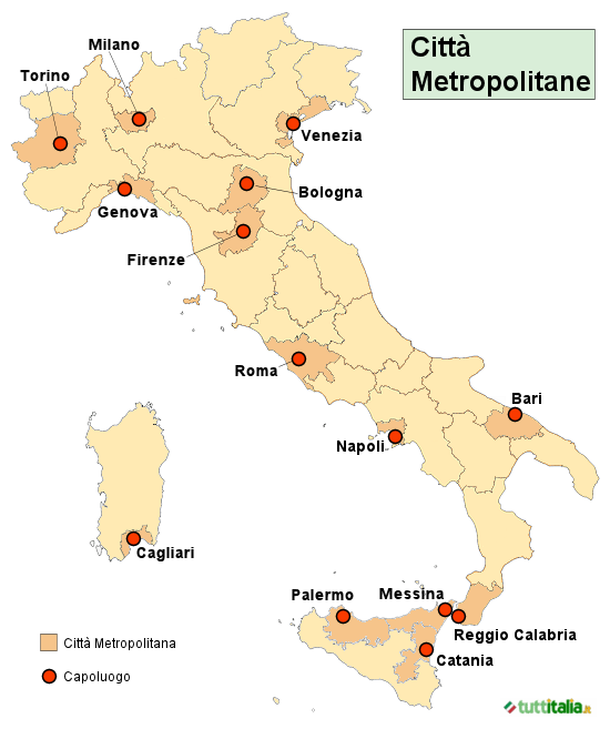 Mappa Italia con le Città Metropolitane