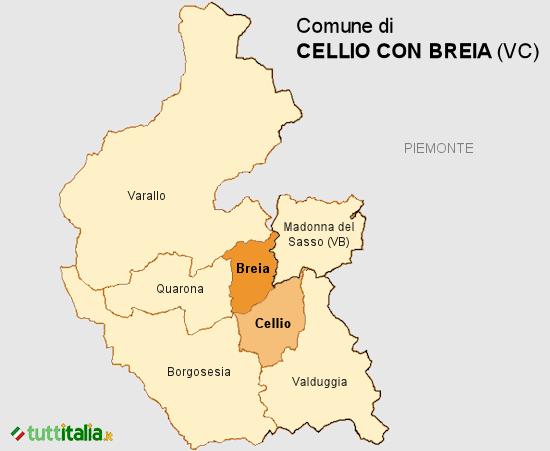Cartina Cellio con Breia