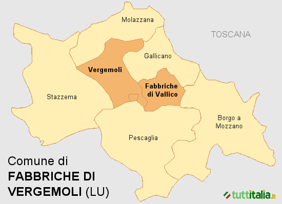 Cartina Fabbriche di Vergemoli