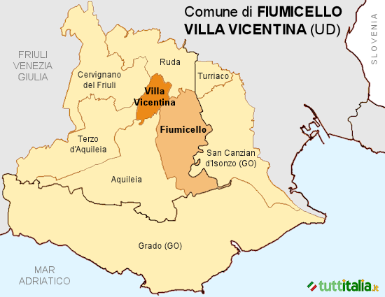 Cartina Fiumicello Villa Vicentina