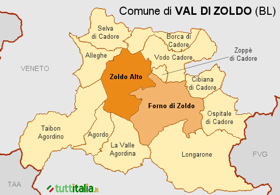 Cartina Val di Zoldo