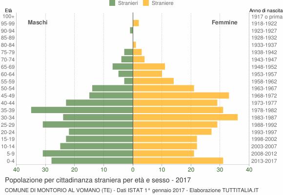 Grafico cittadini stranieri - Montorio al Vomano 2017