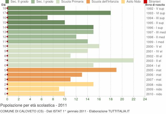Grafico Popolazione in età scolastica - Caloveto 2011