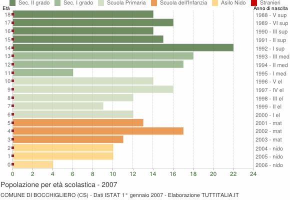 Grafico Popolazione in età scolastica - Bocchigliero 2007