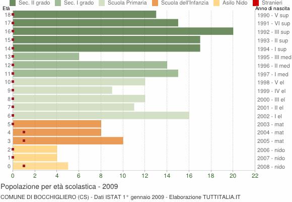 Grafico Popolazione in età scolastica - Bocchigliero 2009