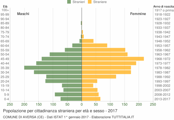 Grafico cittadini stranieri - Aversa 2017