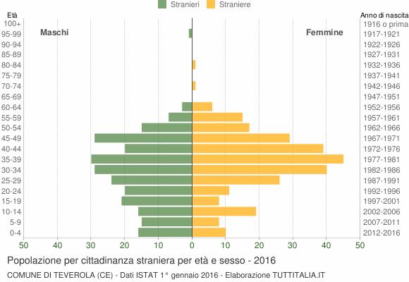 Grafico cittadini stranieri - Teverola 2016