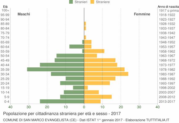 Grafico cittadini stranieri - San Marco Evangelista 2017