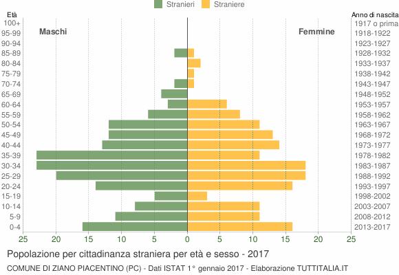 Grafico cittadini stranieri - Ziano Piacentino 2017