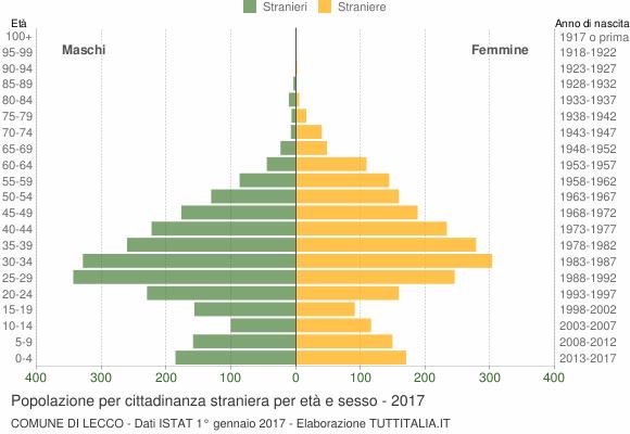 Grafico cittadini stranieri - Lecco 2017