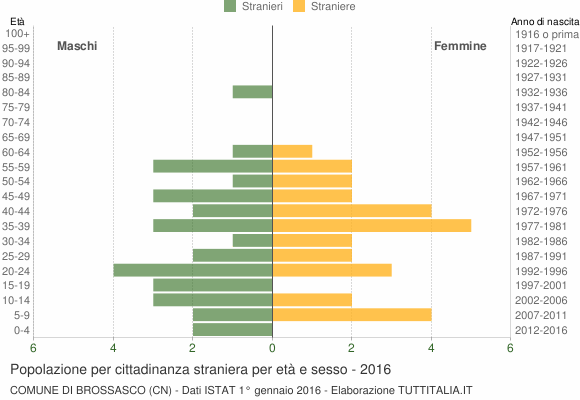 Grafico cittadini stranieri - Brossasco 2016