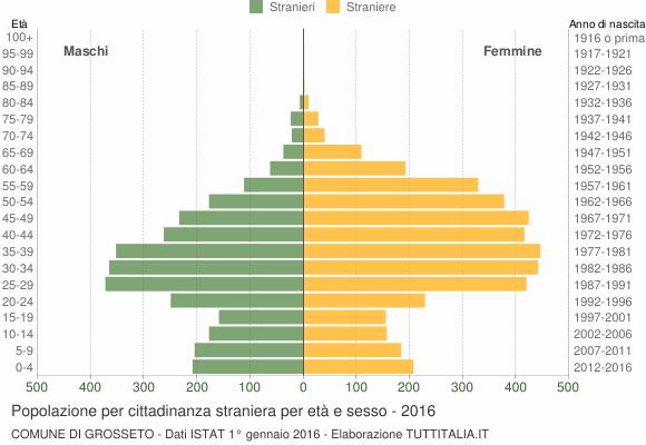 Grafico cittadini stranieri - Grosseto 2016