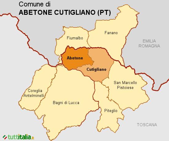 Cartina del Comune di Abetone Cutigliano