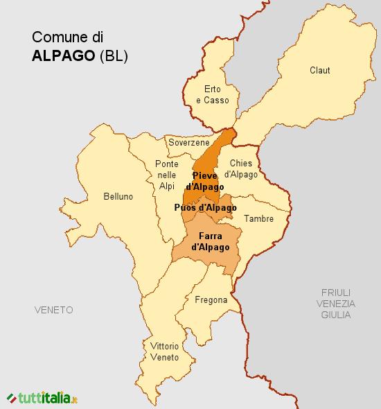 Cartina del Comune di Alpago