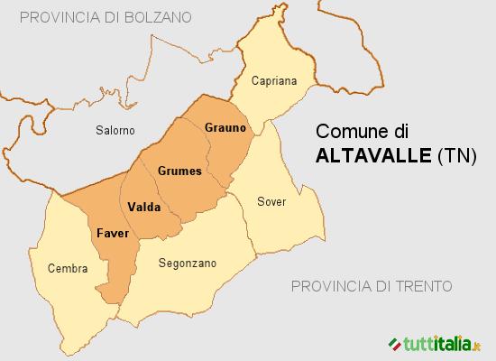 Cartina del Comune di Altavalle