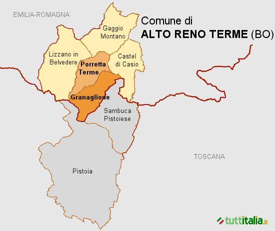 Cartina del Comune di Alto Reno Terme