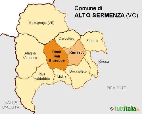 Cartina del Comune di Alto Sermenza
