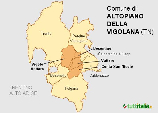 Cartina del Comune di Altopiano della Vigolana