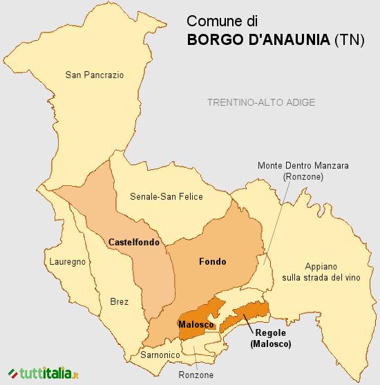Cartina del Comune di Borgo d'Anaunia