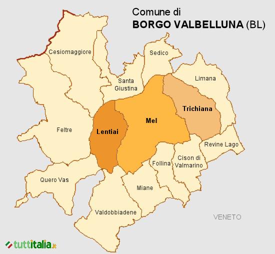 Cartina del Comune di Borgo Valbelluna