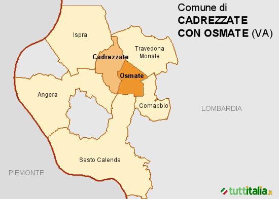Cartina del Comune di Cadrezzate con Osmate