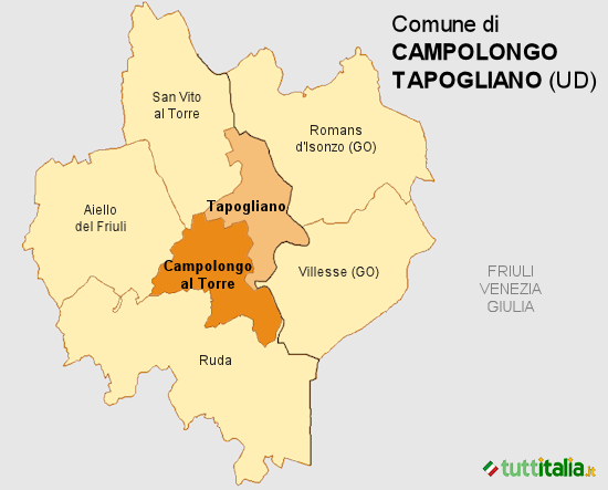 Cartina del Comune di Campolongo Tapogliano