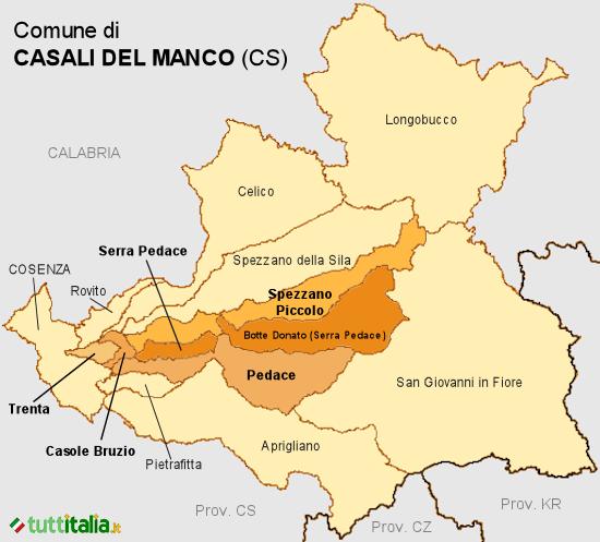 Cartina Casali del Manco