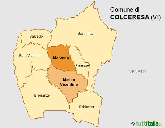 Cartina del Comune di Colceresa