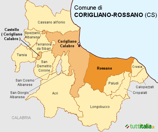 Cartina del Comune di Corigliano-Rossano