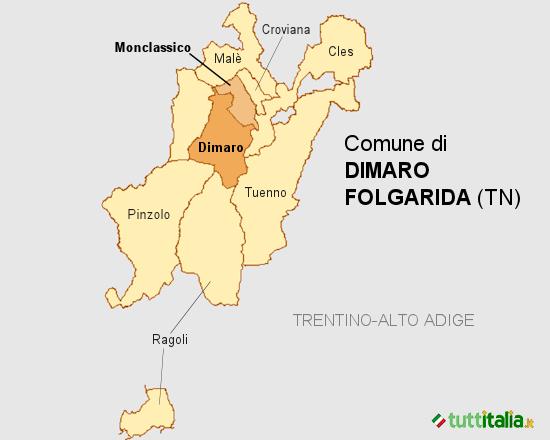 Cartina del Comune di Dimaro Folgarida