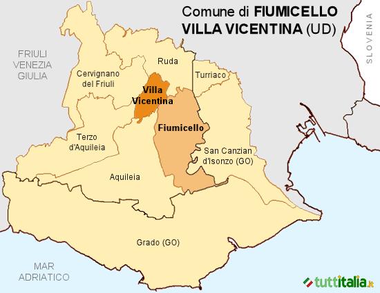 Cartina del Comune di Fiumicello Villa Vicentina