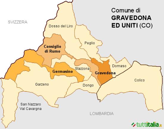 Cartina Gravedona ed Uniti