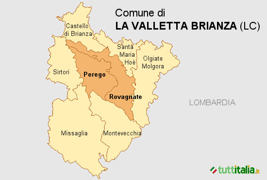 Cartina La Valletta Brianza