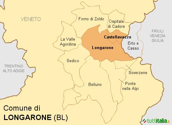 Cartina del Comune di Longarone