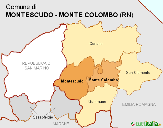 Cartina del Comune di Montescudo-Monte Colombo