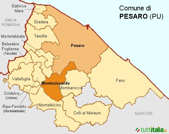Cartina del Comune di Pesaro