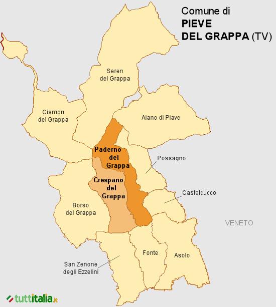 Cartina del Comune di Pieve del Grappa