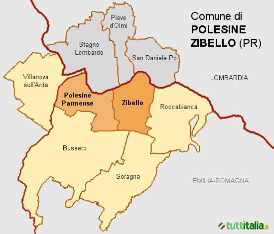 Cartina del Comune di Polesine Zibello