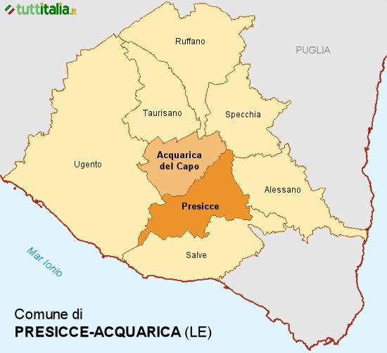 Cartina del Comune di Presicce-Acquarica