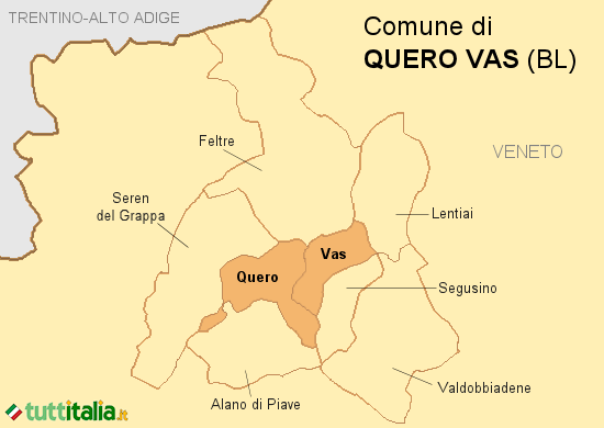 Cartina del Comune di Quero Vas