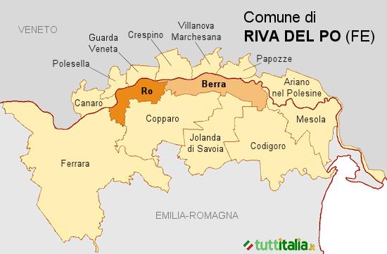 Cartina del Comune di Riva del Po