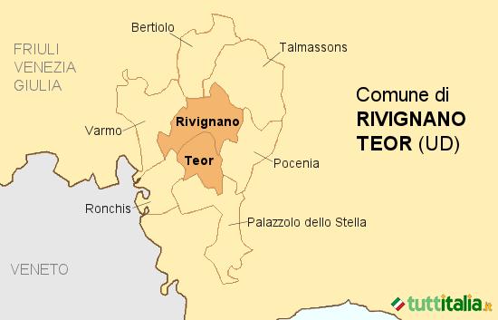 Cartina del Comune di Rivignano Teor