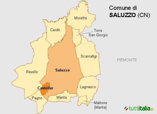 Cartina del Comune di Saluzzo