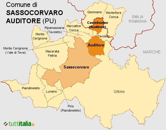 Cartina del Comune di Sassocorvaro Auditore