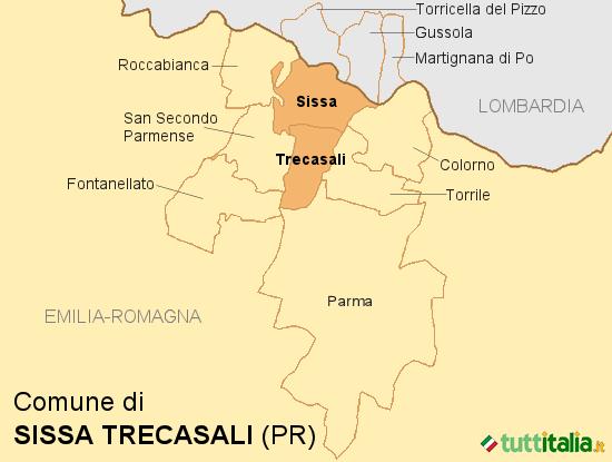 Cartina del Comune di Sissa Trecasali