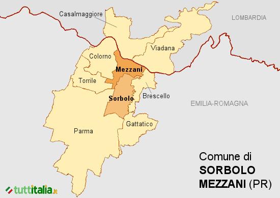 Cartina del Comune di Sorbolo Mezzani