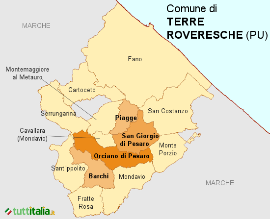 Cartina del Comune di Terre Roveresche