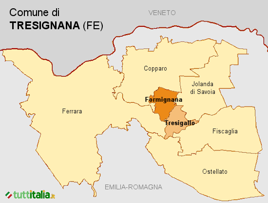 Cartina del Comune di Tresignana
