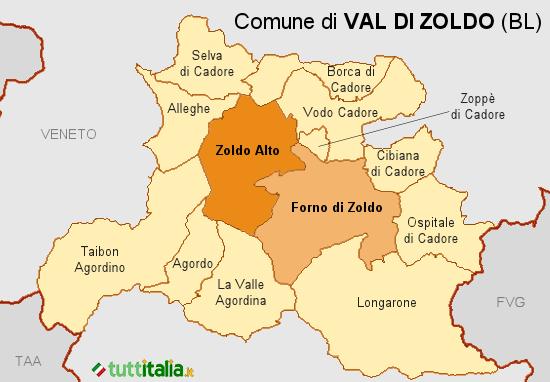 Cartina del Comune di Val di Zoldo