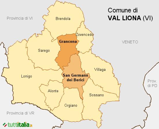 Cartina del Comune di Val Liona
